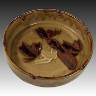 Vintage 1960's Super Large Pottery Ashtray Bamboo Design