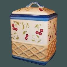4 Quart: Stonelite Inspirado Hand Painted Clay Cherries Cherry Cannister / Cookie Jar