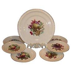 Vintage Harkerware Fruit Design Cake & Dessert Plates 22K Gold Trim; 7 piece Serving Set
