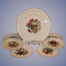 Vintage Harkerware Fruit Design Cake & Dessert Plates 22K Gold Trim; 7 piece Serving Set