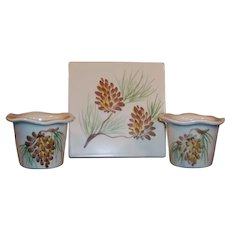 Two Vintage Pinecone Votive Candle Holders & Trivet by Emerson Creek Pottery
