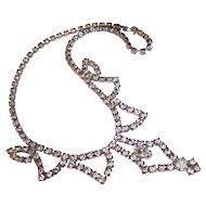 Sparkling Mid Century Clear Rhinestone Choker Necklace