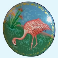 """Vintage 2"""" Lacquer Pink Flamingo Pin Brooch"""
