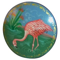 "Vintage 2"" Lacquer Pink Flamingo Pin Brooch"