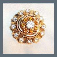 Amber Rhinestone Celtic Knot Pin