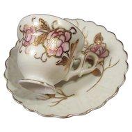 Vintage Gilded Pink Rose Demitasse Cup & Saucer