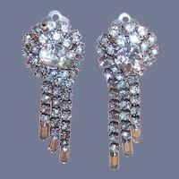 Vintage Sparkling Clear Rhinestone Dangle Clip Earrings