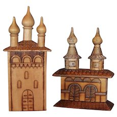Vintage Russian Pyrography Folk Art Wood Carved Cathedrals
