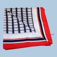 Vintage Red White and Blue Diolen Scarf -- Midcentury Souvenir --  Holland America Cruises