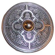 Medallion Mixed Metal Brooch Pin Signed SC