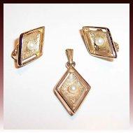 Sarah Coventry Debutante Earrings & Pendant