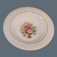 Salem Victory Needlepoint Basket Dessert / Berry Bowl 23K GOLD