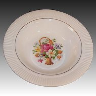 Salem Victory Needlepoint Basket Dessert / Berry Bowl 23K GOLD