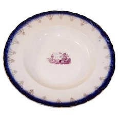 "9 1/4""  Flow Blue Bowl Pilgrims Landing Windmill Design"