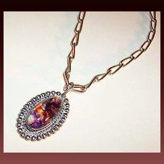 Sterling Silver Foil Art Glass Cabochon Pendant / Necklace
