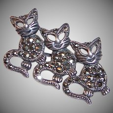 Three Happy Sterling Silver Marcasite Kittens / Cats Pin