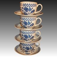 Set of 4 FOUR Vintage Staffordshire Old Granite Jamestown Cups Saucers