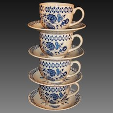 Set of 4 FOUR Vintage Staffordshire Old Granite Jamestown Cups Saucers
