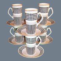 Neiman Marcus  Shamrock Design: Set of SIX Irish Coffee / Espresso Mugs /  Cups / Saucers