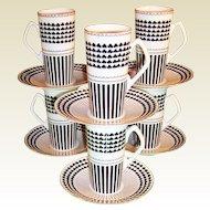 St. Patrick's Day Shamrock Design: Set of SIX Irish Coffee / Espresso Sets Neiman Marcus