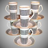 St. Patrick's Day Shamrock Design: Set of SIX Irish Coffee / Espresso Sets Neiman Marcus