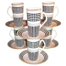 Neiman Marcus St. Patrick's Shamrock Design: Set of SIX Irish Coffee / Espresso Mugs /  Cups / Saucers