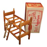 "1950's Strombecker Bunk / Twin Beds  & Ladder for 8"" Dolls; Original Box"