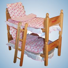 "1950's Strombecker Bunk /  Twin Beds, Bedding & Ladder for 8"" Dolls"