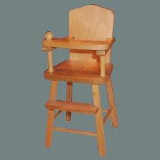 """1950's Strombecker Wooden Highchair (for 8"""" Dolls)"""