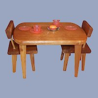 "Vintage Wooden Table Chairs for 8"" Dolls"