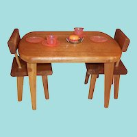 """Vintage Wooden Table Chairs for 8"""" Dolls"""