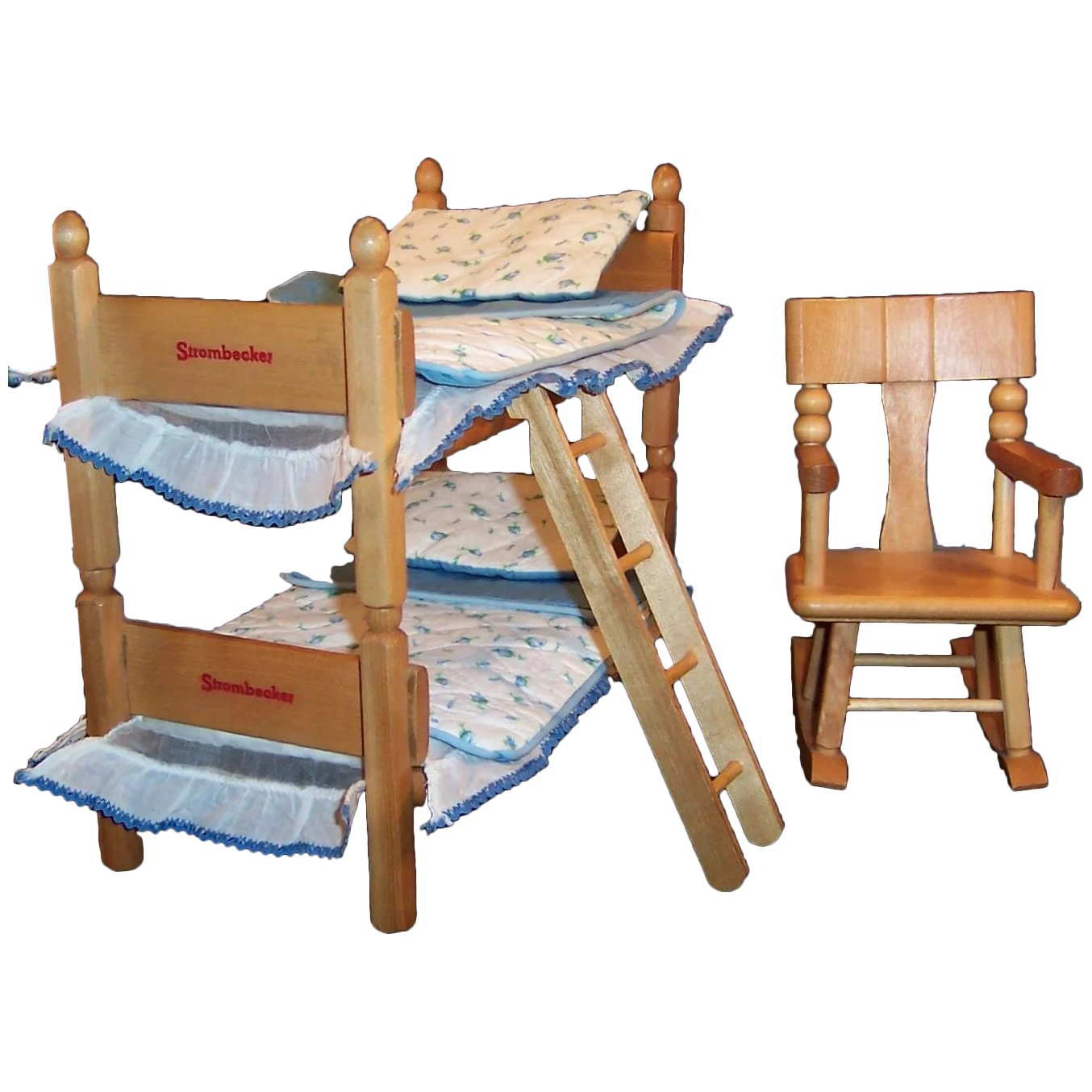 Astounding 1950S Strombecker Bunk Twin Beds Bedding Ladder Rocking Chair For 8 Dolls Andrewgaddart Wooden Chair Designs For Living Room Andrewgaddartcom