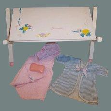 Vogue Ginnette Baby Doll's Bathinette / Changing Table, Towel, Sponge & Robe