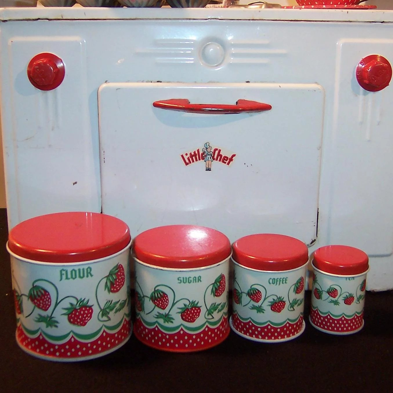 Vintage Wolverine Strawberry Toy Tin Kitchen Canister Play Set ...