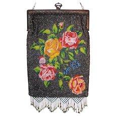 Antique Sparkling Microbeaded Rose Purse