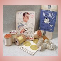 Vintage Sewing Lot:  Buttons & Spools of Thread