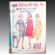 c.1967  Simplicity Bonus Basic Dress Pattern # 7509 Size 18 1/2