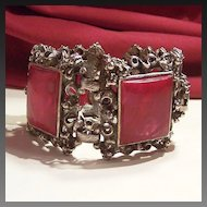 Bold & Chunky Ornate Cast Metal Bracelet with Maroon Cabs