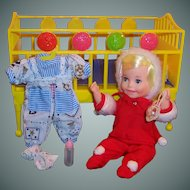 1960's Topper Suzy Cute Doll; 2 Outfits, Toys,  Crib, & Crib Case