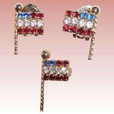 Patriotic Weiss Rhinestone Earrings and Flag Pin