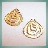 Signed TAT Satin Gold Tone Pierced Earrings