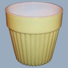 Hazel Atlas Platonite Ribbed Fired on Yellow Flowerpot