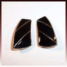 Trifari Black & Gold Enamel