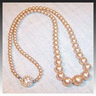 Vintage Graduated Faux Pearl Necklace