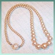 Vintage Graduated Faux Pearl Necklace