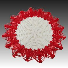 """15"""" Vintage Red and White Crocheted Doily"""
