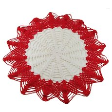 "15"" Vintage Red and White Crocheted Doily"
