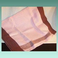 Large Vintage  Pink & Brown Tea Towel / Dish Towel / Hand Towel