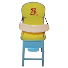 Vintage 1950's J. Chein Metal Doll Highchair