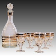 Vintage USSR Gold Trimmed Crystal Decanter and Five Excellent Cordial Glasses
